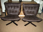 Pair Brown Wood Leather Sling Lounge Chairs Sigurd Rusell Falcon Mid Century Mod