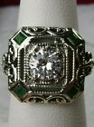 Emerald & White Gems 1930s Art Deco Solid Sterling Silver Filigree Ring Size: