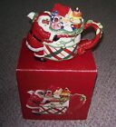 FITZ AND FLOYD REMEMBERING SANTA BLACK CHRISTMAS HOLIDAY TEAPOT