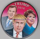DONALD TRUMP 2016 SARAH PALIN CHRIS CHRISTIE POLITICAL BUTTON PINBACK 3 IN
