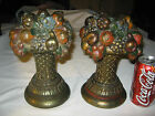 ANTIQUE ARMOR BRONZE CLAD FRUIT BASKET CANDLESTICK STATUE SCULPTURE ART BOOKENDS