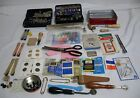 Lot White Domestic sewing machine attachments and assorted sewing accessories