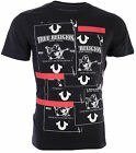 TRUE RELIGION Mens T Shirt BUDDHA TAPE Black with White Red Print 69 Jeans NWT