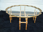 Vintage Glass Top Brass Scalloped Rim Blonde Wood Faux Bamboo Base Coffee Table