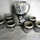 Set of 7 Vintage German Marzi Remy Pitcher Krug Stoneware Cobalt Bluey Grape