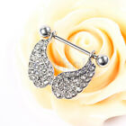 Pair clear cz crystal angel wing feather dangle Nipple shield Rings HM