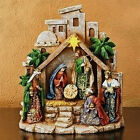 LITTLE TOWN OF BETHLEHEM NATIVITY SCENE WITH LIGHTED STAR FREE SHIPPING