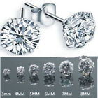 Women Men Fashion 925 Silver Plated Cubic Zirconia Round Stud Earrings 3 8 mm