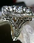 White Zirconia Sterling Silver Edwardian/Deco Design Filigree Ring Size: Any/MTO