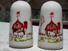 Salt  Pepper Shakers Cottage Farmhouse Barn Fence Trees Cow Sheep Dogs Ceramic