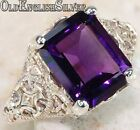 2CT Amethyst 925 Solid Genuine Sterling Silver Edwardian Style Ring Sz 6