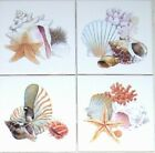 Shells Star Fish Set 4 Ceramic Tiles 425 Kiln Fired Sea Shell Bathroom Decor