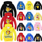 Kids Long Sleeve Hoodie Jumper Pokemon Pikachu School Pullover Sweatshirt Tops