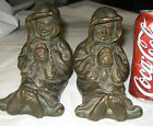 ANTIQUE SCOTCH LIQUOR FRIAR MONK ARMOR BRONZE CLAD USA STATUE SCULPTURE BOOKENDS