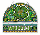 AMIA STAINED GLASS SUNCATCHER 12 X 11 EMERALD ISLE CLOVER CELTIC WELCOME 42372
