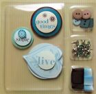 EMBELLISHMENT KIT W GOOD TIMES LIVE  SMILE DIE CUTS + BRADS BUTTONS RIBBON NEW