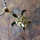 925 Silver Yellow Gold Plated Hawaii Plumeria Turtle Pendant Necklace  88125