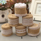 1 Roll Vintage Lace Edged Burlap Ribbon Rustic Wedding Party Crafts Decoration