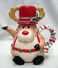 FITZ & FLOYD SNACK THERAPY REINDEER COCOA POT FOR 1 & HAT IS A MUG ~ 2003