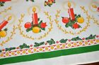 TIME TO DECORATE WITH CANDLES  ORNAMENTS VTG GERMAN PRINT CHRISTMAS TABLECLOTH