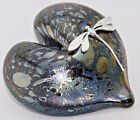 Neo Art Glass iridescent glass heart paperweight  silver dragonfly by Kheaton