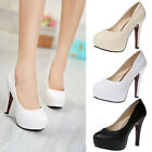 Womens Lady Fashion Round Toe Stiletto High Heel Platform Pump Shoes PU Heels