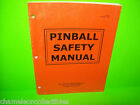 Williams 1997 Original PINBALL MACHINE SAFETY Manual Scared Stiff Junkyard Congo