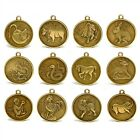 SET OF 12 CHINESE ZODIAC CHARMS 1 Pendant Amulet Coin Brass Bronze