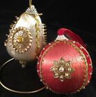 Vintage Satin Ball and bell Beaded Sequin Pearl Christmas Ornament