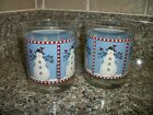 Debbie Mumm Snowman with Cardinals 12 oz Lowball Glasses  Set of 2 - Never Used