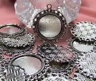 LOT OF 30 SILVER METAL ROUND PHOTO FRAME CHARMS PENDANTS JEWELRY FITS 20mm PIC