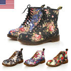 US LADIES WOMENS FLORAL LOW HEEL ANKLE BOOTS LACE UP HIGH TOP RETRO SHOE SIZE DM