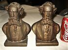 USA CIVIL WAR GENERAL BEAUREGARD BRONZE CLAD BUST ART STATUE SCULPTURE BOOKENDS