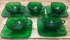 Forest Green Glass Charm Anchor Hocking 1950's 5 Cup Saucer Sets Square MCM 782