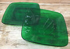 Forest Green Glass Charm Anchor Hocking 1950's 2 Luncheon Plates Square MCM 782