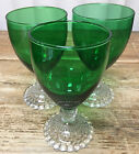 3 Water Goblets Forest Green Glass Clear Bubble Foot Stem Anchor Hocking 769
