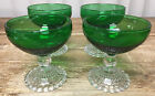 4 Champagnes Tall Sherbets Forest Green Glass Bubble Foot Anchor Hocking 769