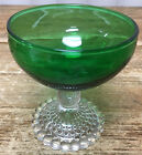 1 Champagne Tall Sherbet Forest Green Glass Bubble Foot Anchor Hocking 769 MCM