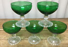 5 Champagnes Tall Sherbets Forest Green Glass Bubble Foot Anchor Hocking 769