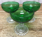 3 Champagnes Tall Sherbets Forest Green Glass Bubble Foot Anchor Hocking 769
