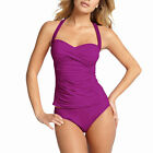 2 Pieces Tied-up Halter Tankini Top with Bikini Bottom Swimwear Swmsuit Orchid