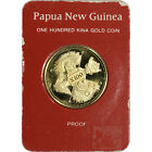 1979 Papua New Guinea Gold Proof 100 Kina - Four Faces in Franklin Mint Card