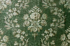 Antique 19thc French Floral Grape Wheat Fabric Rare Moss Sea Glass Green