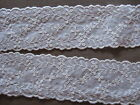 5 3/4 YDS VINTAGE SCALLOPED WHITE FLORAL EMBROIDERED IRISH LINEN TRIM.