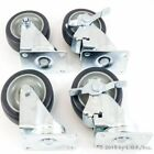 Set of 4 Swivel Plate Casters with 4 Polyurethane Wheels  2 Side Brakes