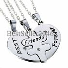 BFF Stainless Steel 3 in 1 Heart Matching Puzzle Best Friends Forever Necklaces