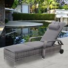 Adjustable Wicker Cushioned Pool Chaise Lounge Chair Outdoor Patio Furniture US