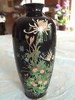 Antique Meiji Japanese Cloisonne Silver Wire Enamel Black Vase