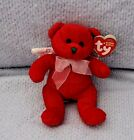 Stuffed Red Plush Bear Beanie Babies Ty Hark White Iridescent Wings Bow 4.75