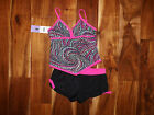 NWT Girls FREE COUNTRY Black Hot Pink Tankini Swim Skirt 2 Pc Swimwear Swimuit 7